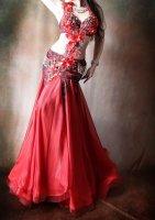 ベリーダンス衣装  レッドフレア  Designed by Giselle Design