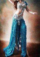 ベリーダンス衣装 ブルー×ホワイト Designed by Yasser