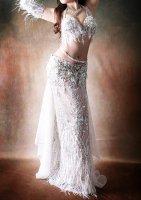 ベリーダンス衣装 ホワイトシルバー Designed by HOYDA
