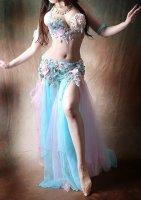 ベリーダンス衣装 ブルー×グリーン×ピンク Designed by HOYDA