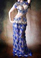 ベリーダンス衣装  ブルーフリンジ  Designed by Giselle Design