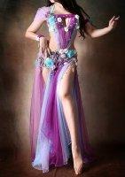 ベリーダンス衣装 アナシアセレクトカラー パープル×ブルー×ラベンダー Designed by HOYDA