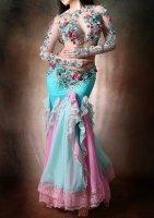 ベリーダンス衣装 ピンク×グリーン Designed by Amber Bellydance Costume
