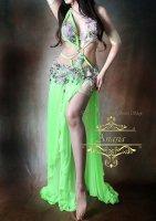 ベリーダンス衣装 ネオングリーン Designed by Yasser