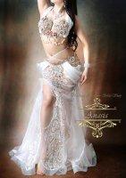 ベリーダンス衣装 ホワイト Designed by Halla belly design
