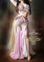 ベリーダンス衣装 モーヴピンク×ゴールド×ホワイト Designed by HOYDA