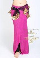 ベリーダンス エジプト製ヒップスカーフ メッシュ&スパンコール ブラック