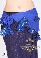 ベリーダンス エジプト製ヒップスカーフ メッシュ&スパンコール ブルー