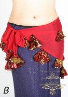 ベリーダンス エジプト製ヒップスカーフ メッシュ&スパンコール レッド