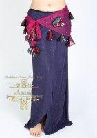 ベリーダンス エジプト製ヒップスカーフ メッシュ&スパンコール ピンク