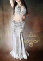 ベリーダンス衣装 シルバー×ホワイト Designed by Yasser