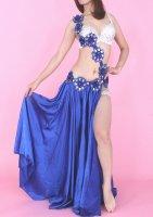 ベリーダンス衣装 コスチューム フラワー装飾×フレアスカート インナーパンツ付き 3点set ブルー