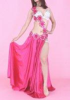 ベリーダンス衣装 コスチューム フラワー装飾×フレアスカート インナーパンツ付き 3点set ピンク