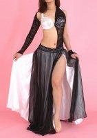 ベリーダンス衣装 オリエンタルコスチューム ブラックレースドレスタイプ 変型アーム付き ホワイト×ブラック