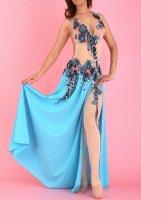 ベリーダンス衣装 オリエンタルコスチューム フラワー装飾 ドレスタイプ ストッキング付き ブルー★B品★