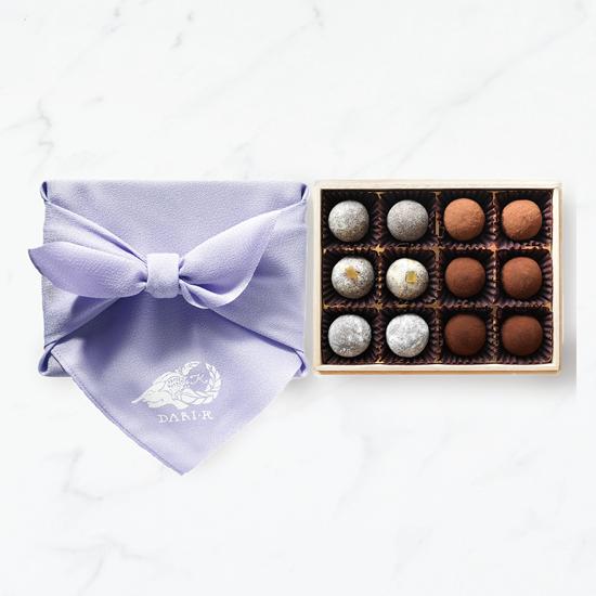 【12粒木箱入・風呂敷(紫)】カカオが香るチョコレート・トリュフ(2019)