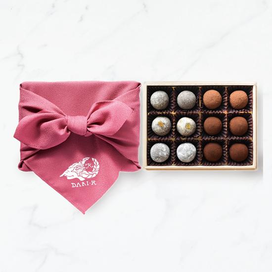 【12粒木箱入・風呂敷(ピンク)】カカオが香るチョコレート・トリュフ(2019)