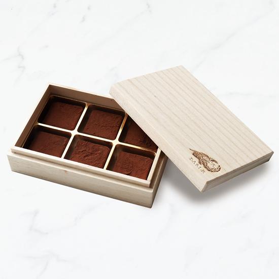 【6粒木箱入】カカオが香る生チョコレート 初摘みプレーン
