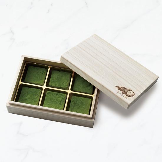 【6粒木箱入】カカオが香る生チョコレート 抹茶