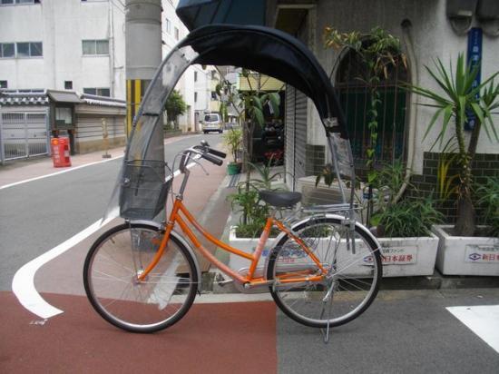 自転車の屋根は風除け、雨除け ...
