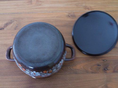 Finel フラワー 茶  ほうろう鍋