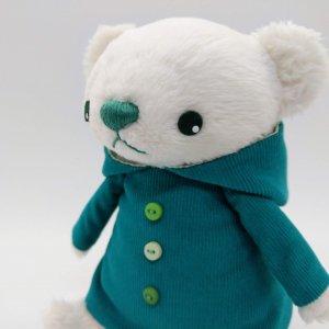 パーカー服のくま(青緑)