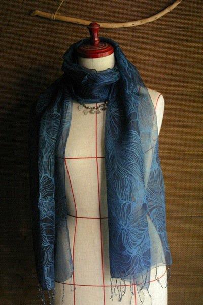 フラワーモチーフシルクスカーフポピー 濃藍