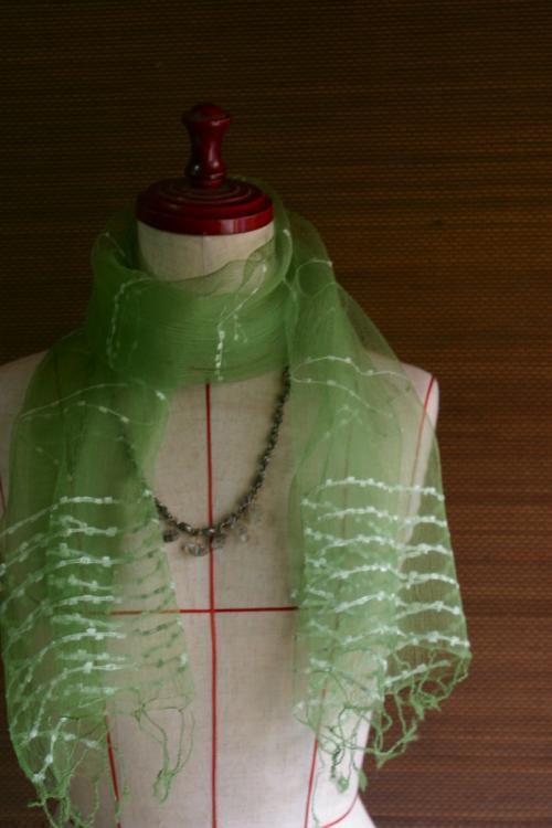 草木染スカーフ オーガンジーチョリ メロン