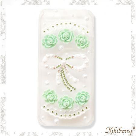 iphone5アイフォン5ケース  バラフラワーレース使いオリジナルデザインデコケース