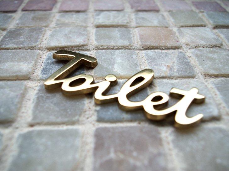 真鍮の筆記体トイレサイン ゴールド