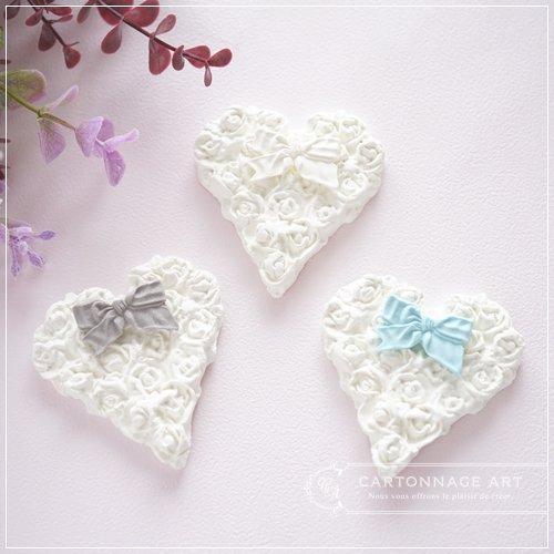 クレイモチーフ Heart Rose(M)with Ribbon