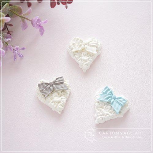 クレイモチーフ Heart Rose(S)with Ribbon