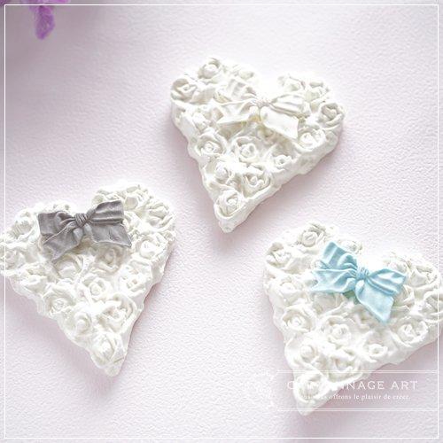 クレイモチーフ Heart Rose(L)with Ribbon