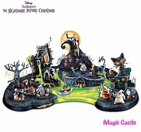 ナイトメアー・ビフォア・クリスマス ハロウィーン フィギュア Halloween Town Lagoon Sculpture With Lights And Mus…