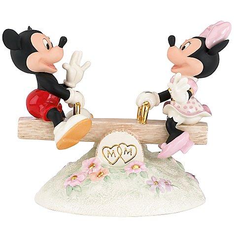 ミッキー&ミニーマウス シーソー Mickey Sees True Love Mickey and Minnie Mouse Figurine by Lenox