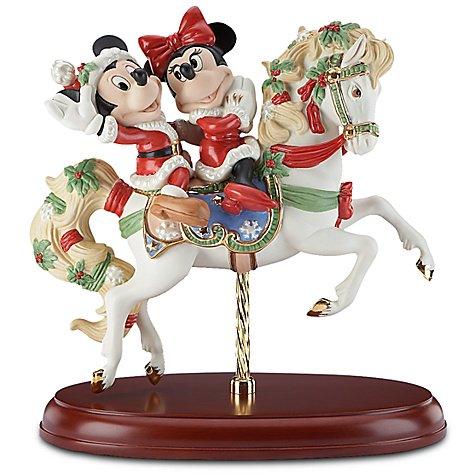 サンタミッキー&ミニー Holiday Carousel'' Santa Minnie and Santa Mickey Mouse Figurine by Lenox