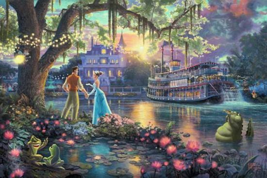 """ディズニーアート 限定 ジークレー版画  """"The Princess and the Frog"""" 24x36"""
