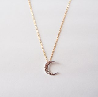 MOON with a star Necklace  SILVER