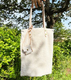 Pail tote bag  LEATHER HANDLE