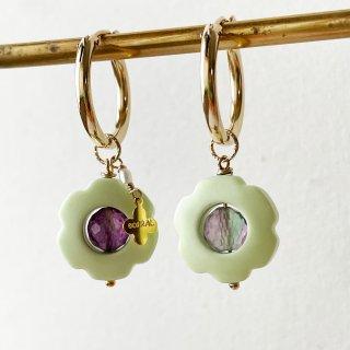 Flower stone hoop earrings