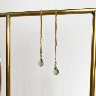 Color stone American earrings Green appetite