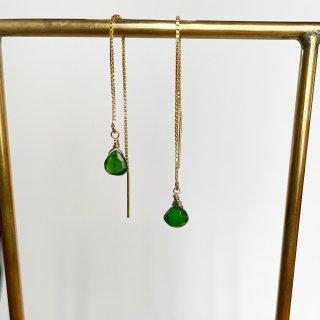 Color stone American earrings Diopside