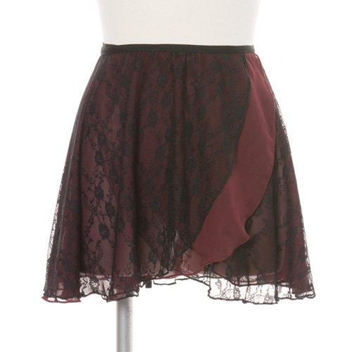 大人用バレエ巻きスカート レース ワインレッド (フリーサイズ)の写真