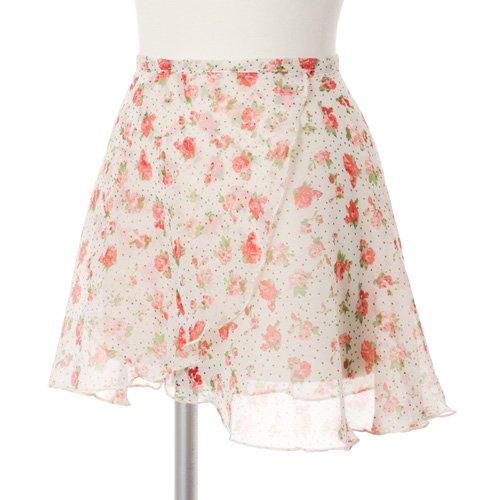 大人用バレエ巻きスカート 花柄シフォン ホワイト(フリーサイズ)の写真