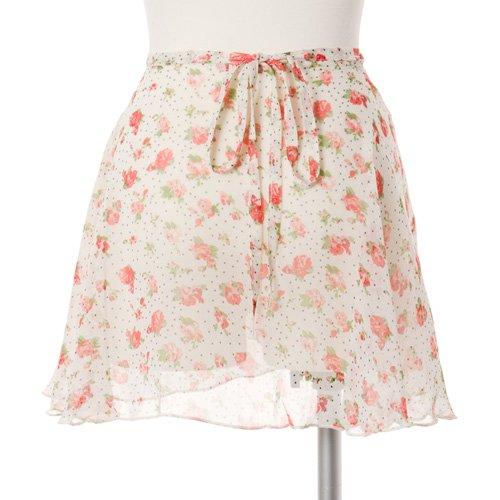 大人用バレエ巻きスカート 花柄シフォン ホワイト(フリーサイズ)の後ろからの写真
