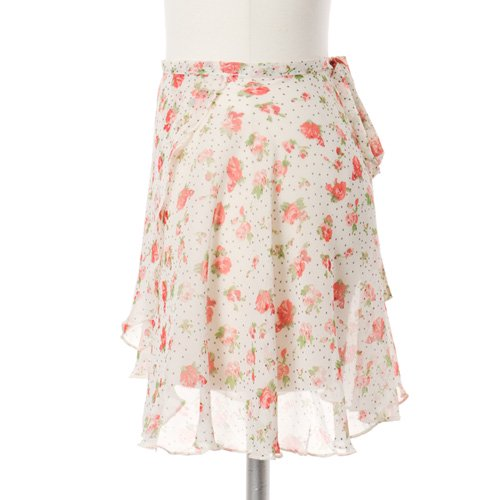 大人用バレエ巻きスカート 花柄シフォン ホワイト(フリーサイズ)の詳細写真02