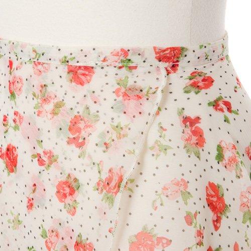 大人用バレエ巻きスカート 花柄シフォン ホワイト(フリーサイズ)の詳細写真05