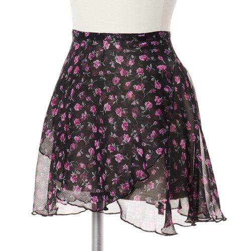 ラベルフェ 大人用バレエ巻きスカート 花柄シフォン ブラック(フリーサイズ)