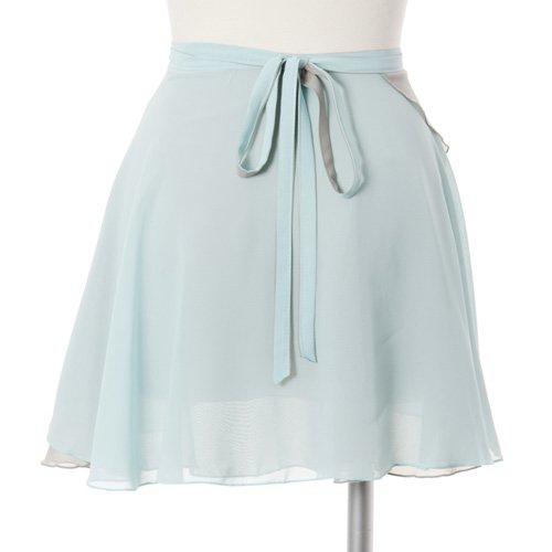 大人用リバーシブルバレエ巻きスカート ベビーブルーグレー (フリーサイズ)の後ろからの写真