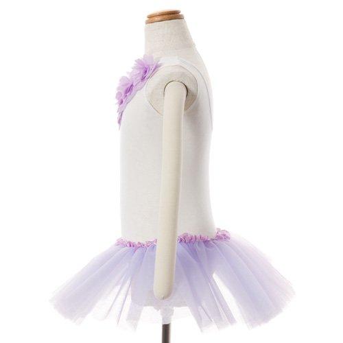 子供用 チュチュ付きバレエレオタード(袖なし) 120cm ホワイト×ラベンダーの詳細写真02
